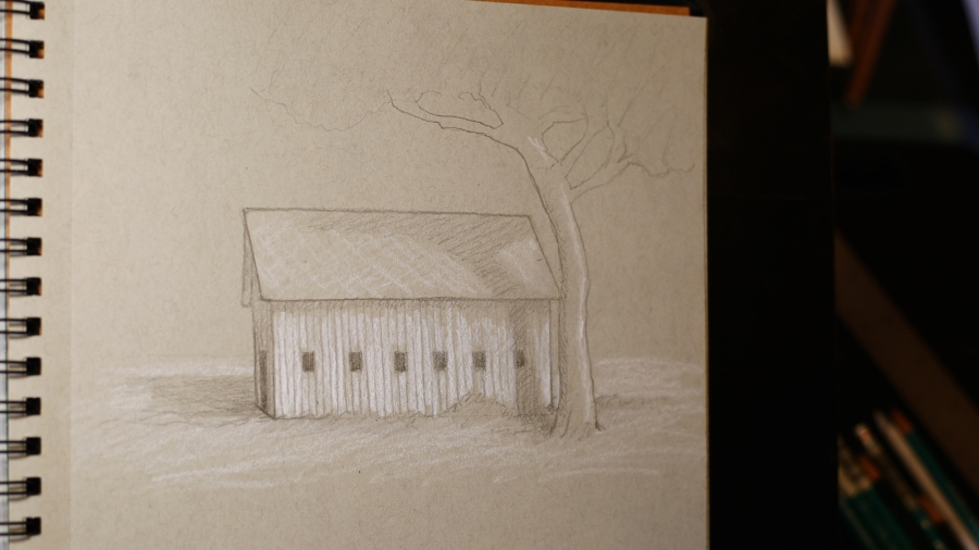 Sketchbook Exercise #9 – Intro to perspective, shadow path,barn.